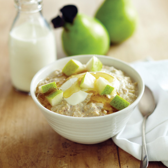 Bircher Muesli with Grated Packham's Triumph Pear, Toasted Hazelnuts and Honey