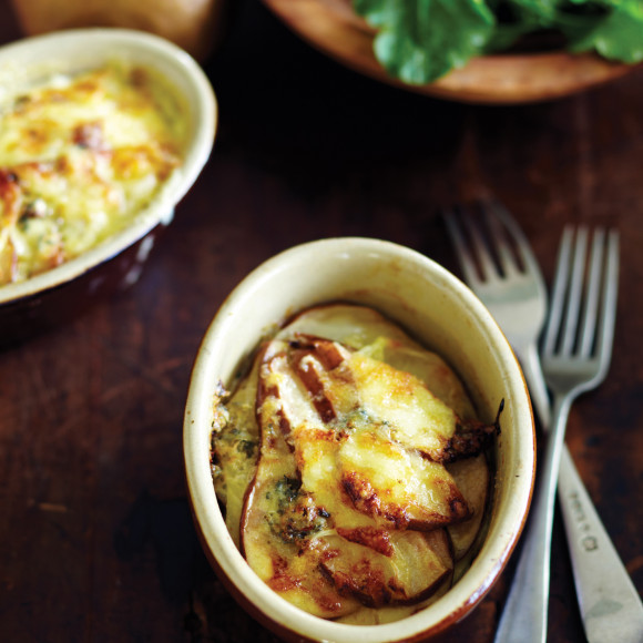 Gratin of Potato, Beurre Bosc Pear and Blue Cheese with a Wild Rocket Salad