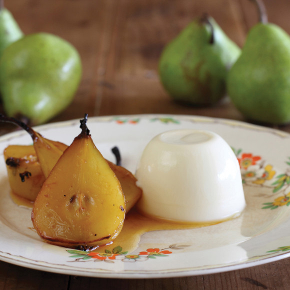 Saffron Roasted Pears with Verjuice Pannacotta