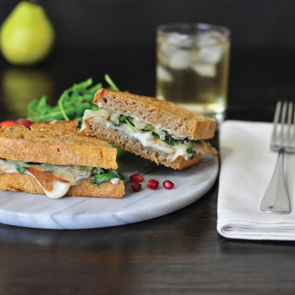 Pear, Goat Cheese and Caramelised Onion Jam Sandwich