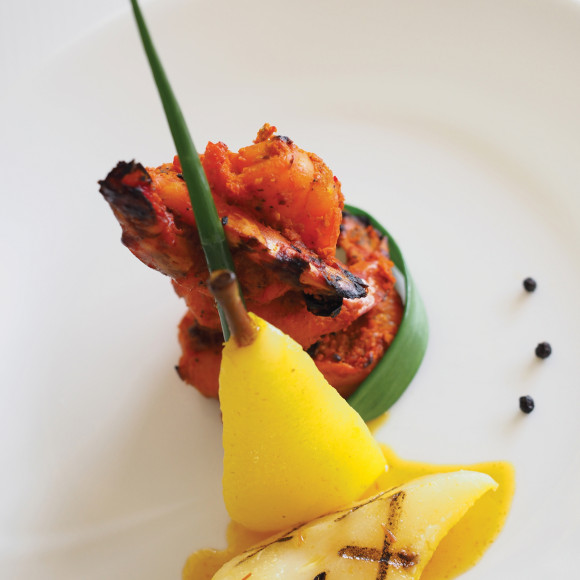 Tandoori Prawns with Saffron and Cardamom Poached Pears Recipe ...
