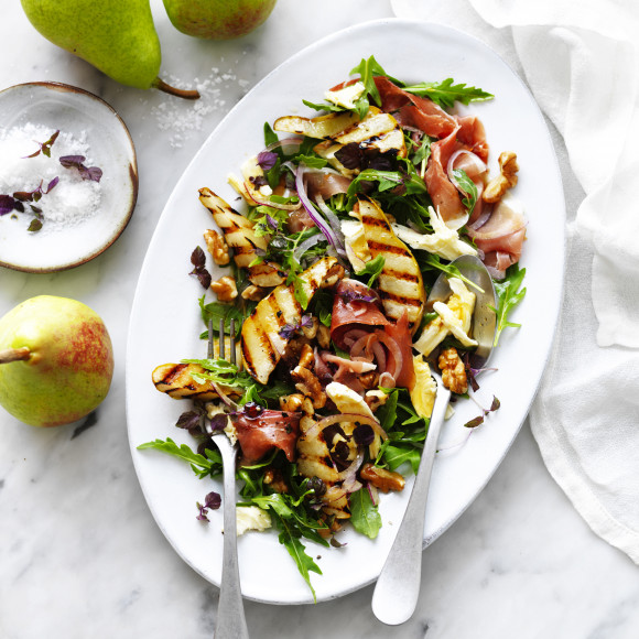 Grilled Pear Rocket And Prosciutto Salad