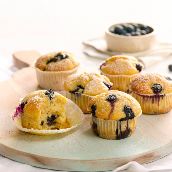 Mini Baked Lemon and Blueberry Ricotta Cakes