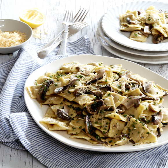 Beef Ravioli with Wild Mushrooms and Herbs