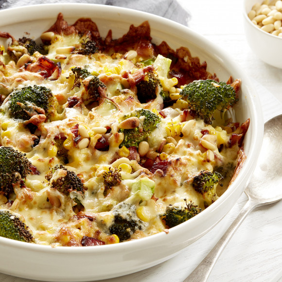 Broccoli Corn Bacon and Mozzarella Cheese Bake