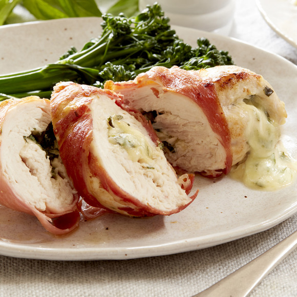 Prosciutto Wrapped Chicken with Mozzarella and Basil
