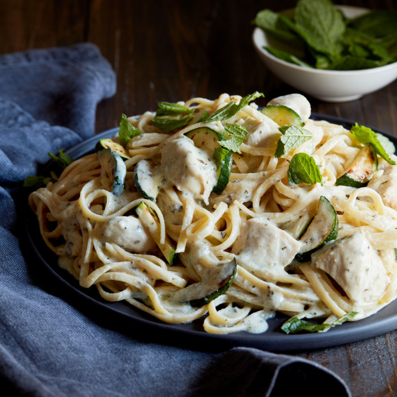 Chicken and Zucchini Linguini with Garlic and Herb Ricotta