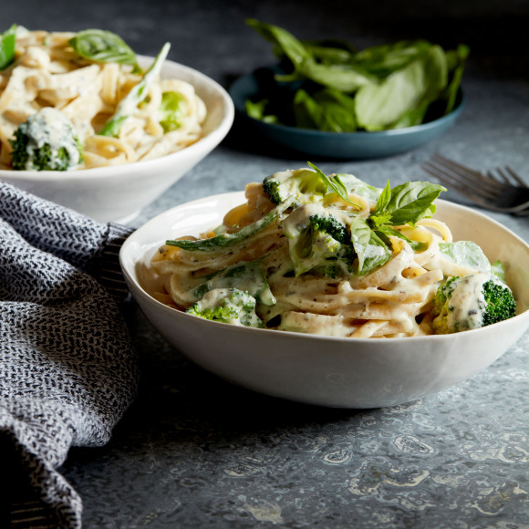 Broccoli and Snow Pea Fettucine with Garlic and Herb Ricotta