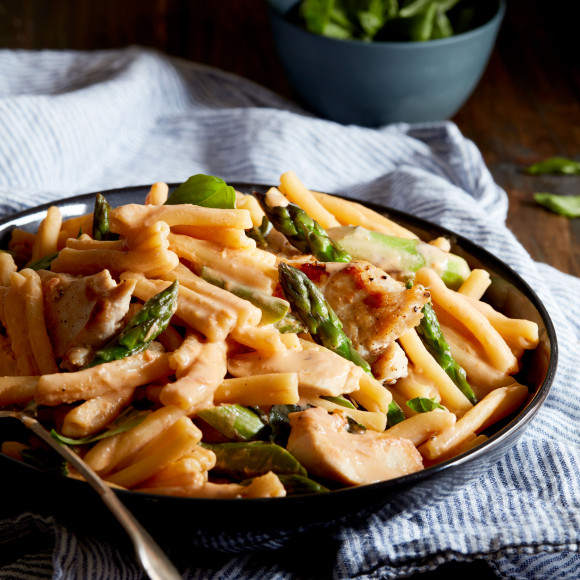 Chicken and Asparagus Casarecce with Sundried Tomato Ricotta