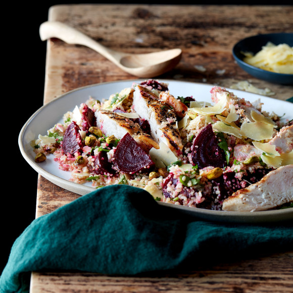 Roast Beetroot, Grilled Chicken and Grain Salad
