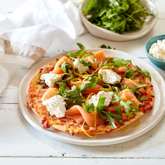 Smoked Salmon, Ricotta and Rocket Pita Pizza