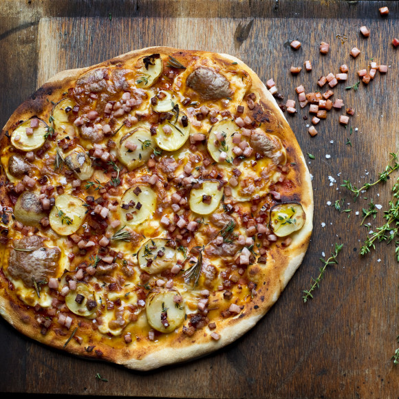Potato Pizza with Bacon and Thyme