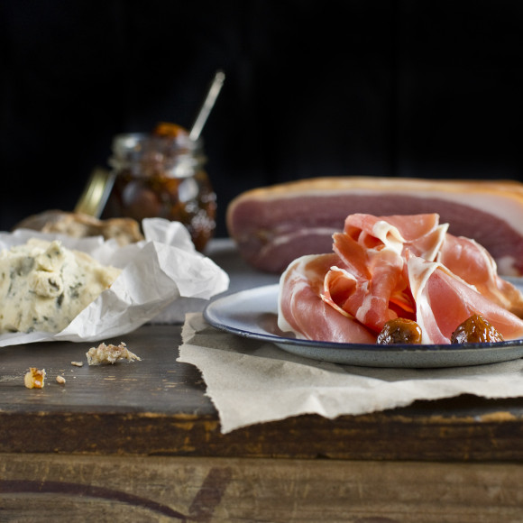 Prosciutto Platter with Marinated White Figs and Gorgonzola