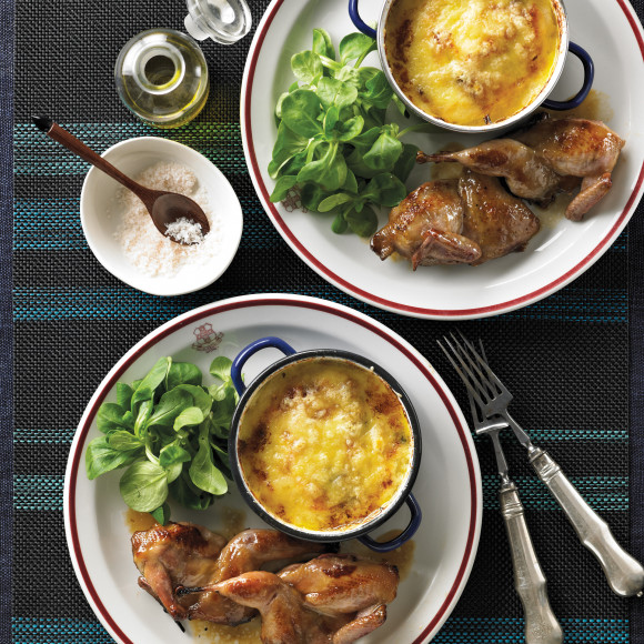 Caramelised Quail with Gratin of Potato Pear and Blue Cheese Served with Wild Rocket Salad