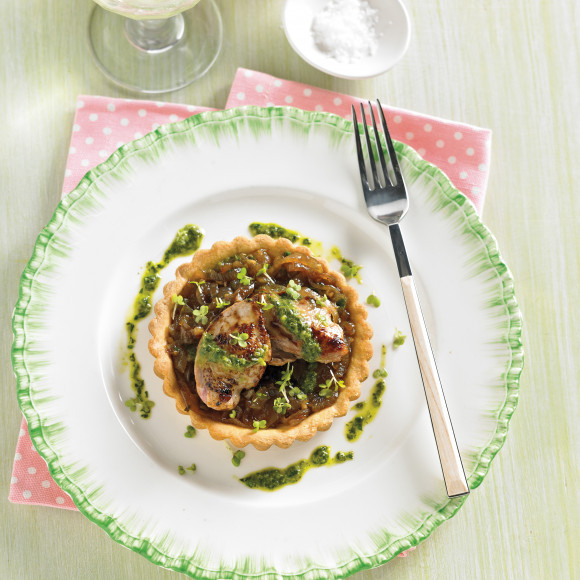 Tartlett of Quail Breast with Onion Jam and Salsa Verde