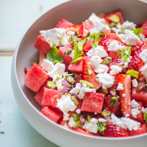 Watermelon, Strawberry and Feta Salad