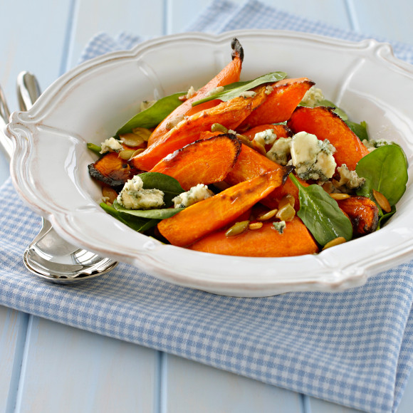 Roasted Carrot, Spinach and Blue Cheese Salad