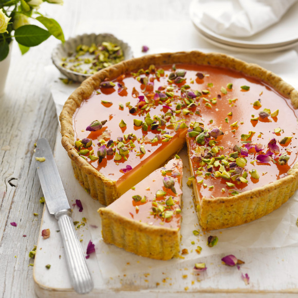 Rose Pistachio Custard Tart recipe