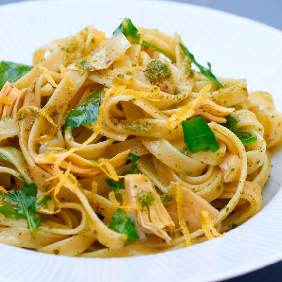 Fettuccine with Artichokes, Lemon and Basil Pesto