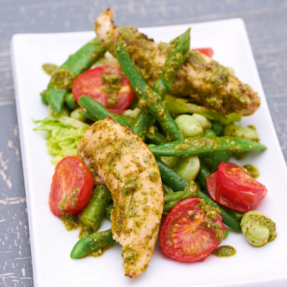 Primavera Salad with Pesto Chicken Recipe