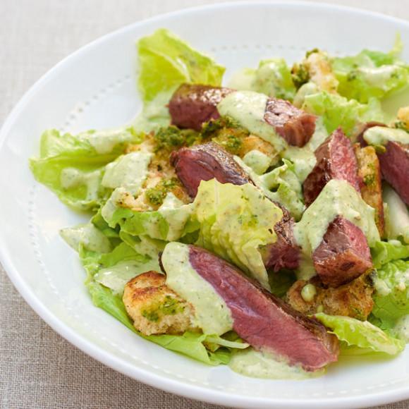 Char-Grilled Steak and Pesto Salad