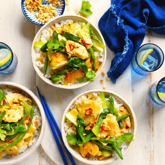 Easy chicken satay stir fry recipe