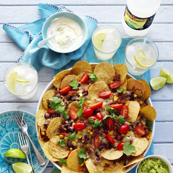 Mexican Beef, Corn and Bean Nachos recipe