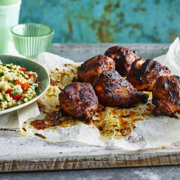 Smoked Paprika and Garlic Chicken with Pearl Cous Cous Salad