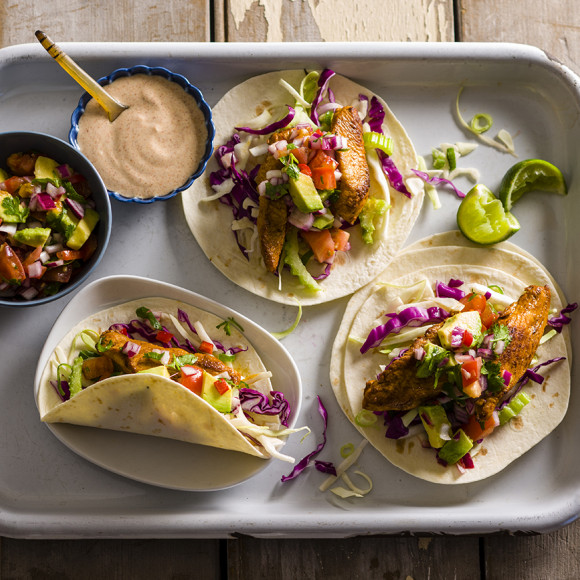 Soft Turkey Tacos with Salsa and Spicy Dressing Recipe