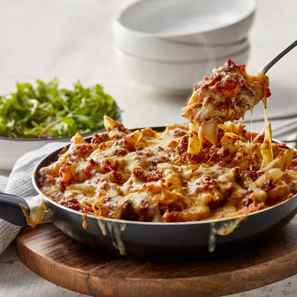 Speedy skillet bolognese pasta bake