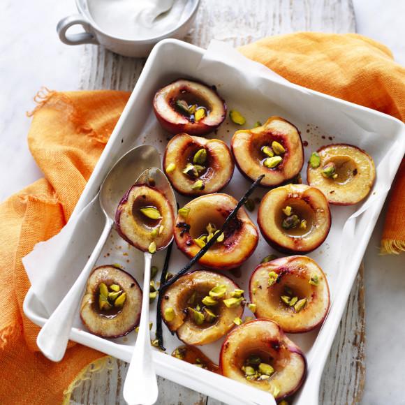 Cardamom Roasted Nectarines with Vanilla and Coconut Yoghurt