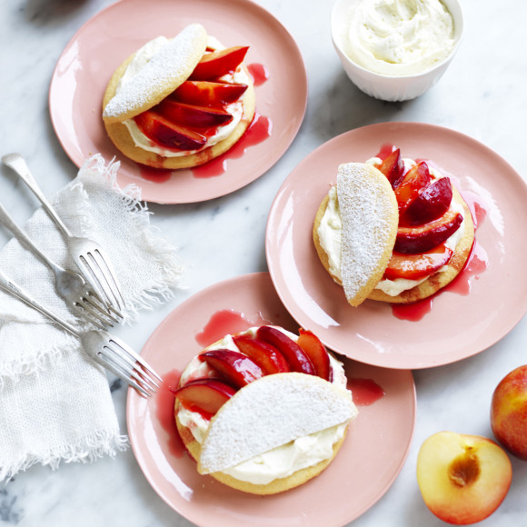 Plum Shortcakes with Mascarpone Cream