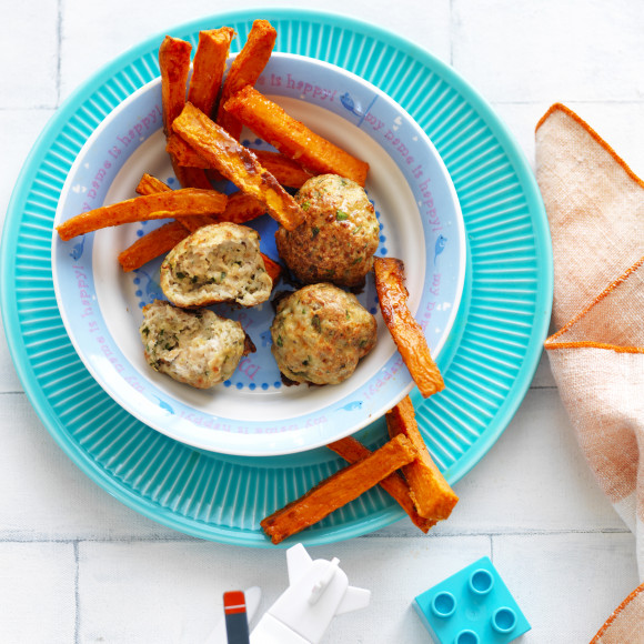 Chicken Meatballs with Sweet Potato Chips