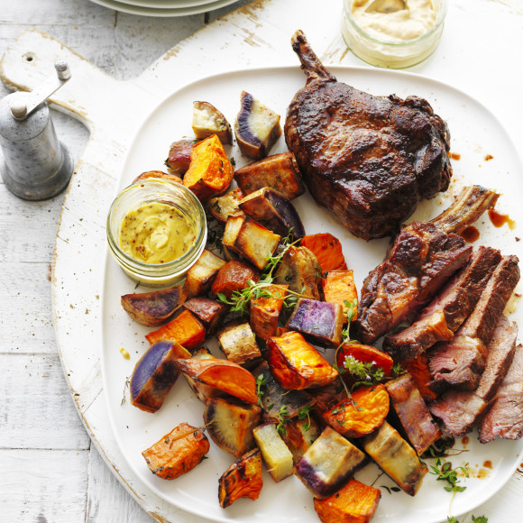 Roast Sweet Potato Medley with Rib-Eye Steak