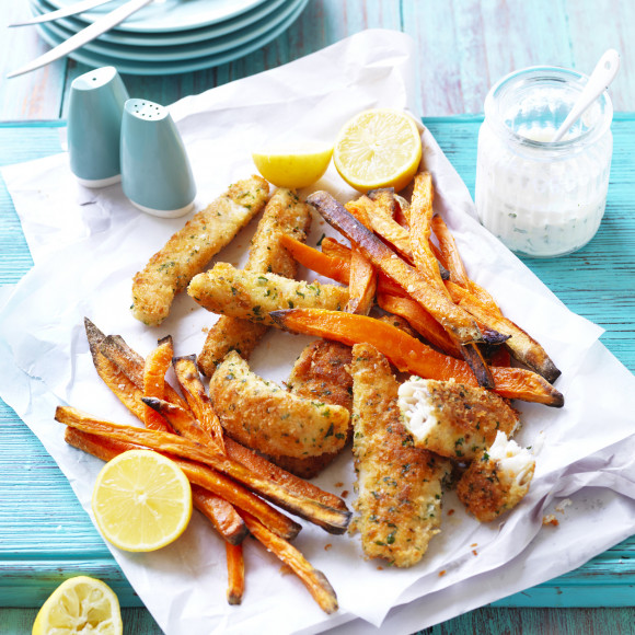 Sweet Potato Fries with Crumbed Fish