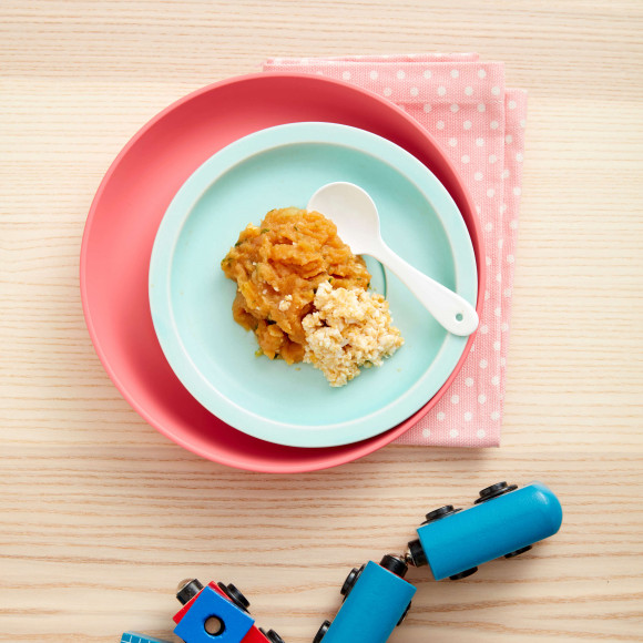 Sweet potato, zucchini and egg puree