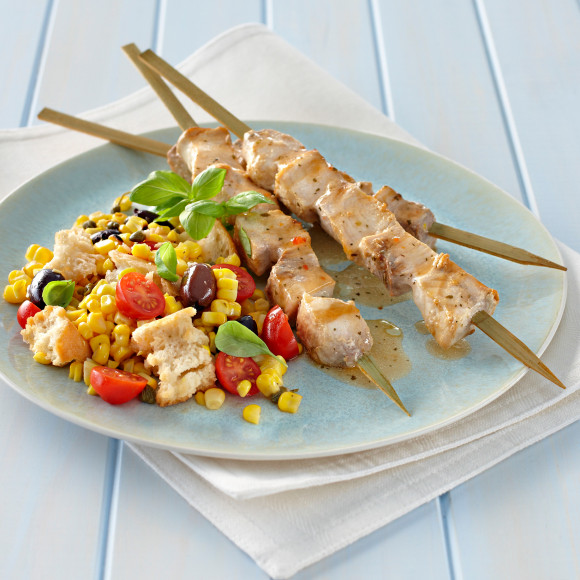 Swordfish Skewers with BBQ Corn and Ciabatta Salad