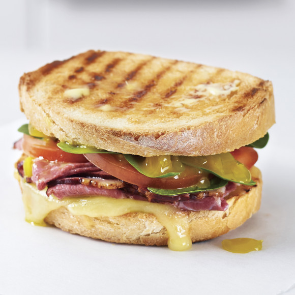 Roast Beef, Pickles & Cheese Toasted Sandwich