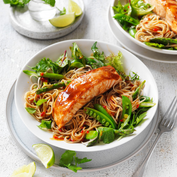Teriyaki Salmon Soba Noodle Salad Recipe Myfoodbook Soba Noodles Recipe