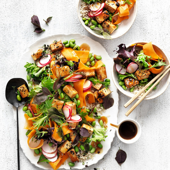 Try this hearty high-protein vegan recipe of teriyaki tofu salad.