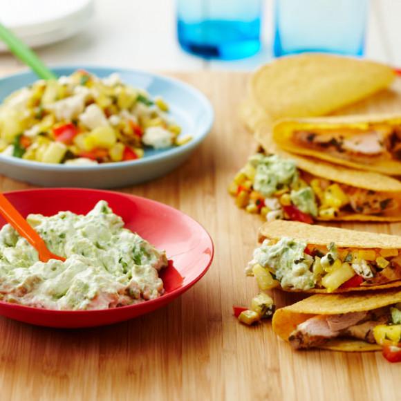 Mexican chicken taco recipe with avocado smash