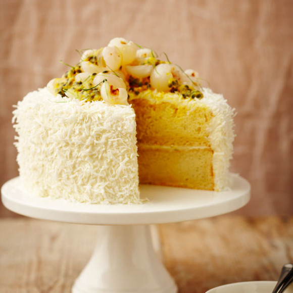 Lemon Passion Fruit Lychee Raspberry Cake