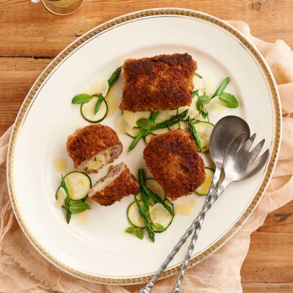 Lemon and Mozzarella Veal Pockets with Pecorino Zucchini Salad