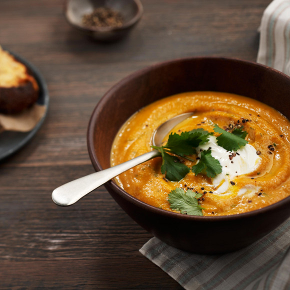 Creamy Carrot and Coriander Soup with Parmesan Toasts Recipe ...