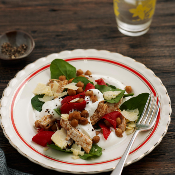 Spiced Chickpea, Chicken and Spinach Salad