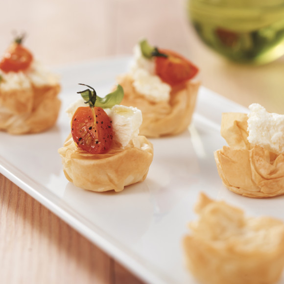 Scrunched Filo with Roasted Cherry Tomatoes and Persian Fetta