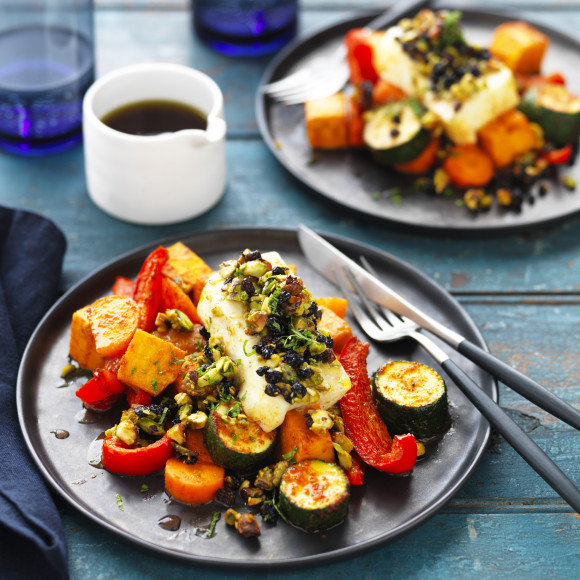 Jewelled Haloumi with Spiced Vegetable Bake
