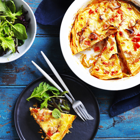 Red Capsicum and Ham Quiche with Sweet Potato Crust