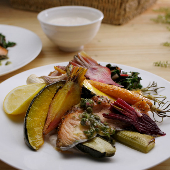 Roast Winter Vegetables with Wood Smoked Salmon, Salsa Verde and Tahini and Lemon Yoghurt