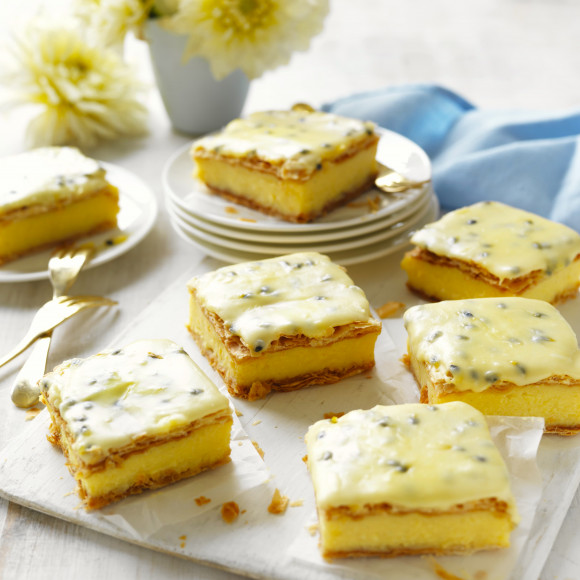 Traditional vanilla slice with passionfruit icing recipe